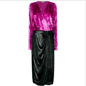 ATTICO PINK BLACK VELVET WRAP PARTY COCKTAIL DRESS